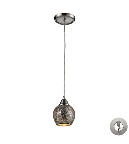 ELK 10208/1SLV-LA Fission 1 Light 5 inch Satin Nickel Pendant Ceiling Light in Incandescent, Silver Mosaic Glass, Recessed Adapter Kit photo