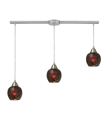 ELK 10208/3L-WN Fission 3 Light 36 inch Satin Nickel Pendant Ceiling Light in Wine Glass photo