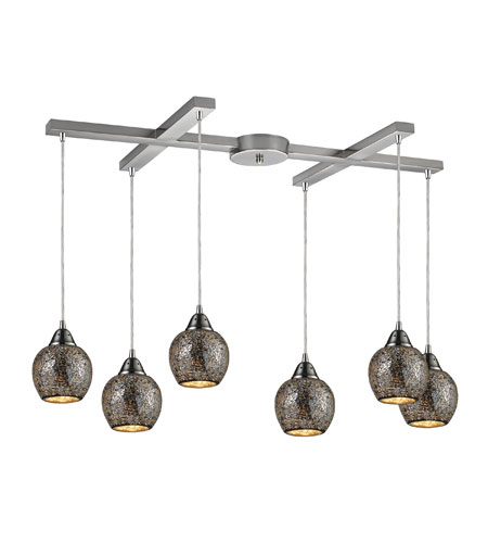 ELK 10208/6SLV Fission 6 Light 33 inch Satin Nickel Pendant Ceiling Light in Silver Mosaic Glass photo