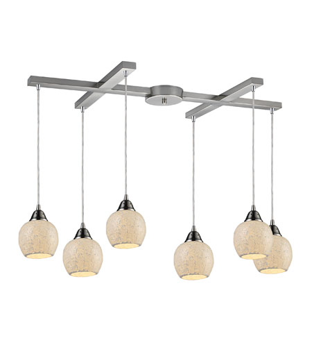 ELK 10208/6CLD Fission 6 Light 33 inch Satin Nickel Pendant Ceiling Light in Cloud Glass photo