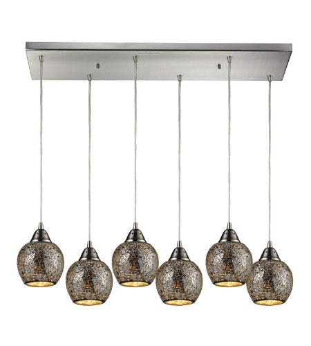ELK 10208/6RC-SLV Fission 6 Light 30 inch Satin Nickel Pendant Ceiling Light in Silver Mosaic Glass photo
