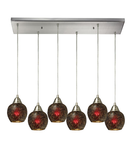 ELK 10208/6RC-WN Fission 6 Light 30 inch Satin Nickel Pendant Ceiling Light in Wine Glass photo