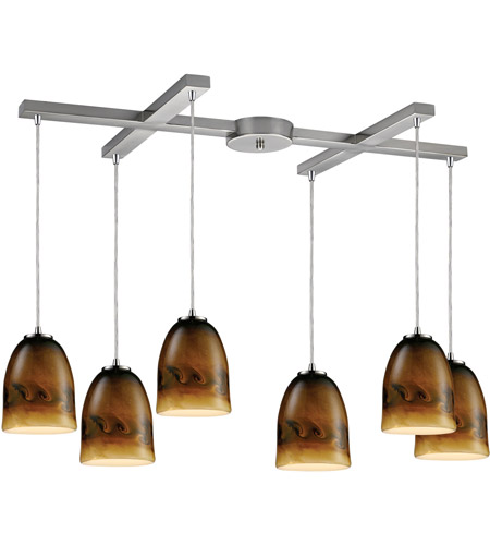 ELK Lighting Cosmos 6 Light Pendant in Satin Nickel 10217/6JUP photo