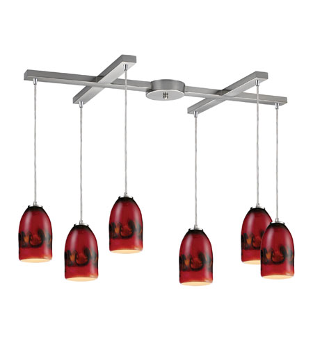 ELK Lighting Cosmos 6 Light Pendant in Satin Nickel 10217/6SF photo