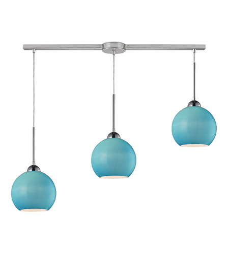 ELK 10240/3L-AQ Cassandra 3 Light 36 inch Polished Chrome Pendant Ceiling Light in Aqua Glass photo