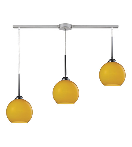 ELK 10240/3L-LEM Cassandra 3 Light 36 inch Polished Chrome Pendant Ceiling Light in Lemon Glass photo