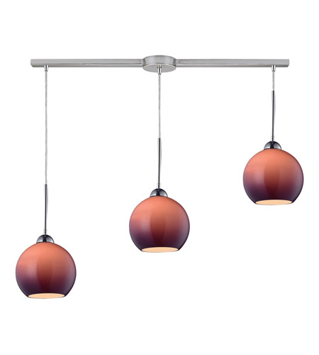 ELK 10240/3L-PUR Cassandra 3 Light 36 inch Polished Chrome Pendant Ceiling Light in Purple Glass photo