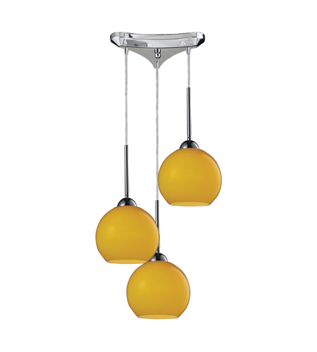ELK 10240/3LEM Cassandra 3 Light 10 inch Polished Chrome Pendant Ceiling Light in Lemon Glass photo