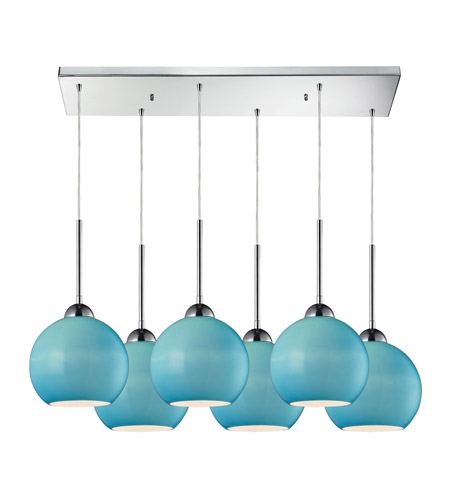ELK 10240/6RC-AQ Cassandra 6 Light 30 inch Polished Chrome Pendant Ceiling Light in Aqua Glass photo