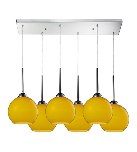 ELK 10240/6RC-LEM Cassandra 6 Light 30 inch Polished Chrome Pendant Ceiling Light in Lemon Glass photo