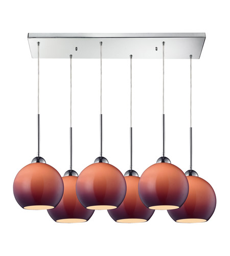 ELK 10240/6RC-PUR Cassandra 6 Light 30 inch Polished Chrome Pendant Ceiling Light in Purple Glass photo
