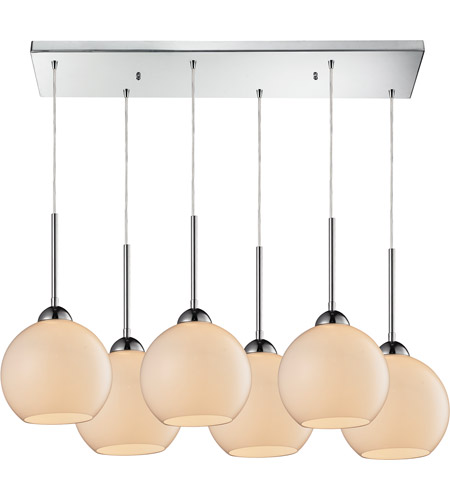 ELK 10240/6RC-WH Cassandra 6 Light 30 inch Polished Chrome Pendant Ceiling Light in White Glass photo