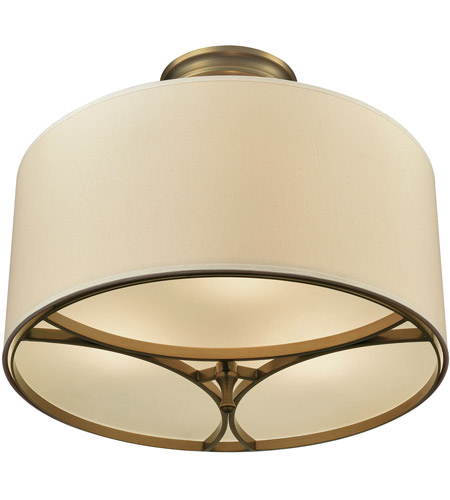 elk pembroke 3 light 16 inch brushed antique brass semi flush mount ceiling light