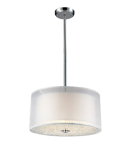 ELK 10303/3 Crystals 3 Light 18 inch Polished Chrome Pendant Ceiling Light photo
