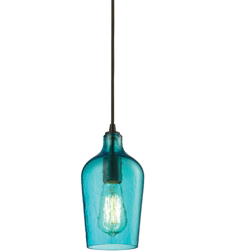 ELK 10331/1HAQ Hammered Glass 1 Light 5 inch Oil Rubbed Bronze Mini Pendant Ceiling Light in Hammered Aqua Glass, Standard photo