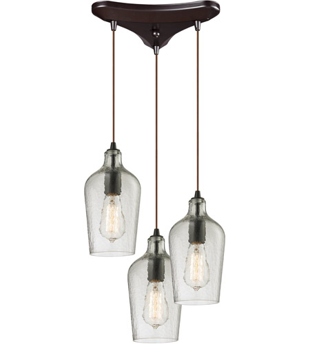 elk 103313clr hammered glass 3 light 10 inch oil rubbed bronze chandelier ceiling light