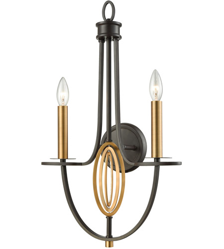 elk dione 2 light 15 inch oil rubbed bronze with brushed antique brass wall sconce wall light