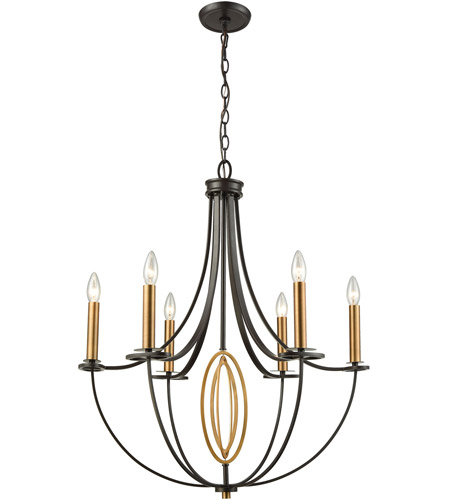 ELK 10515/6 Dione 6 Light 25 inch Brushed Antique Brass/Oil Rubbed Bronze Chandelier Ceiling Light photo