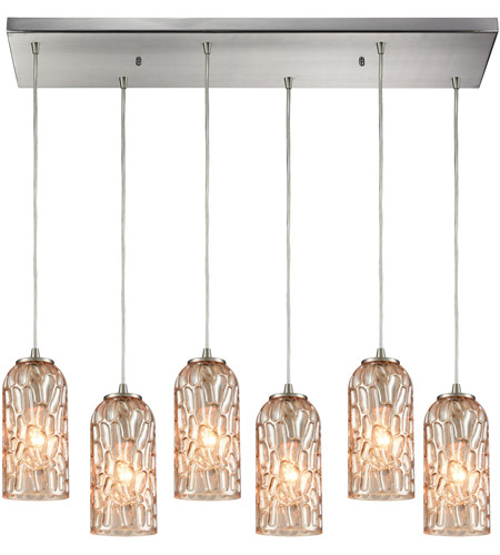 Ansegar 6 Light 32 Inch Satin Nickel Mini Pendant Ceiling In Rectangular Canopy