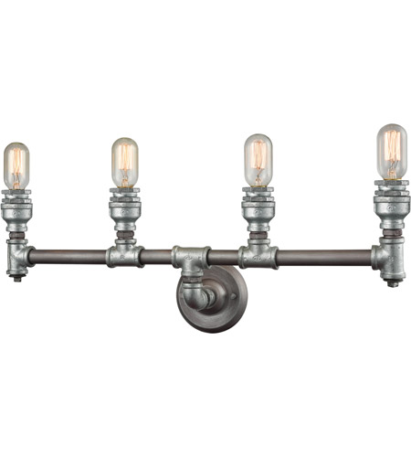 Elk 106854 cast iron pipe 4 light 28 inch weathered zinczinc elk 106854 cast iron pipe 4 light 28 inch weathered zinczinc plating vanity wall light aloadofball Images