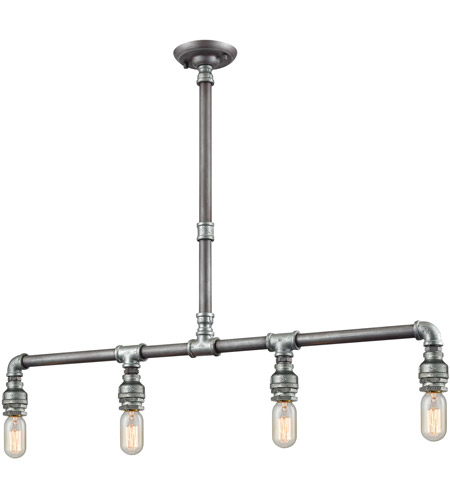 ELK 10690/4 Cast Iron Pipe 4 Light 39 inch Weathered Zinc with Zinc Plating Island Light Ceiling Light photo