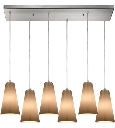 Connor 6 Light 32 Inch Satin Nickel Mini Pendant Ceiling In Rectangular Canopy