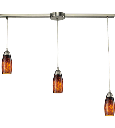ELK 110-3L-ES Milan 3 Light 36 inch Satin Nickel Pendant Ceiling Light in Espresso Glass photo