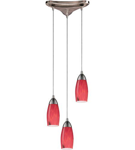 ELK 110-3FR Milan 3 Light 10 inch Satin Nickel Pendant Ceiling Light in Fire Red Glass photo