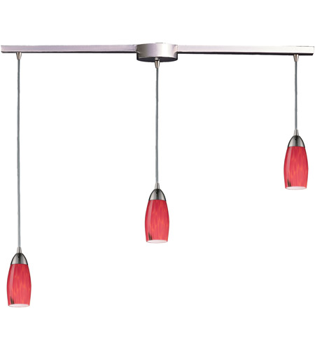 ELK 110-3L-FR Milan 3 Light 36 inch Satin Nickel Pendant Ceiling Light in Fire Red Glass photo