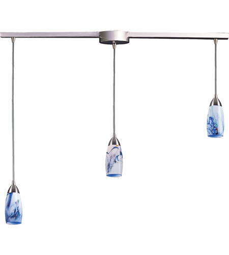 ELK 110-3L-MT Milan 3 Light 36 inch Satin Nickel Pendant Ceiling Light in Mountain Glass photo