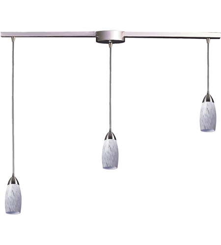 ELK 110-3L-SW Milan 3 Light 36 inch Satin Nickel Pendant Ceiling Light in Snow White Glass photo