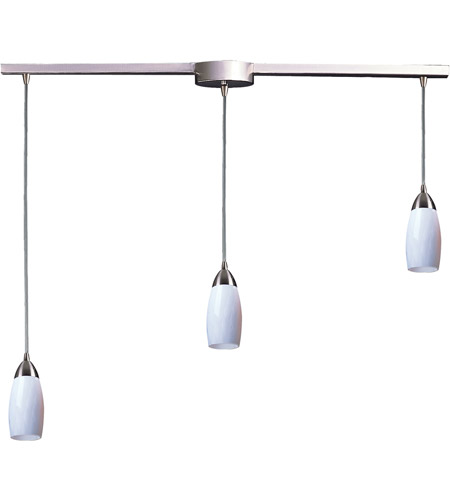 ELK 110-3L-WH Milan 3 Light 36 inch Satin Nickel Pendant Ceiling Light in Simply White Glass photo