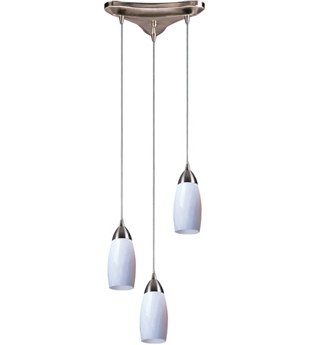 ELK 110-3YW Milan 3 Light 10 inch Satin Nickel Pendant Ceiling Light in Yellow Blaze Glass photo