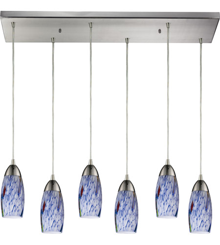 ELK 110-6RC-BL Milan 6 Light 30 inch Satin Nickel Pendant Ceiling Light in Starburst Blue Glass photo