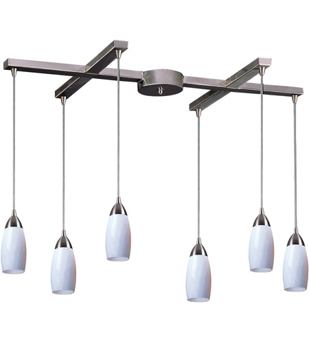 ELK 110-6WH Milan 6 Light 33 inch Satin Nickel Pendant Ceiling Light in Simply White Glass photo