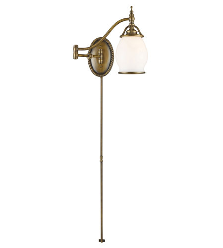 ELK Lighting Williamsport 1 Light Swingarm in Vintage Brass Patina 11043/1 photo