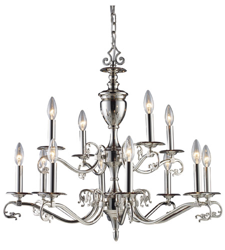 ELK Lighting Sophia 12 Light Chandelier in Polished Nickel 11077/8+4 photo