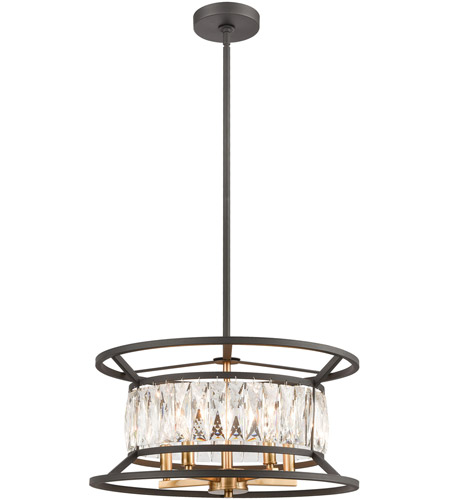 ELK 11185/5 Starlight 5 Light 19 inch Charcoal with Satin Brass Pendant Ceiling Light photo thumbnail