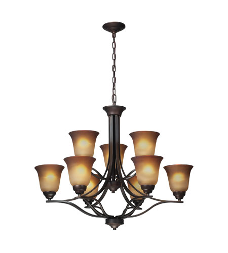 ELK Lighting Malaga 9 Light Chandelier in Aged Bronze 11534/6+3 photo