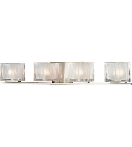 ELK 11633/4 Chiseled Glass 4 Light 27 inch Brushed Nickel Vanity Light Wall Light photo
