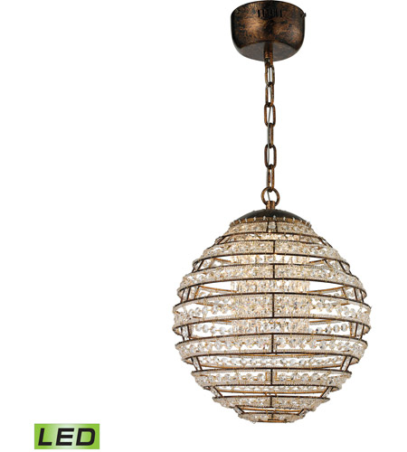 lowest price a3ffb ae2ef Crystal Sphere LED 13 inch Spanish Bronze Pendant Ceiling Light