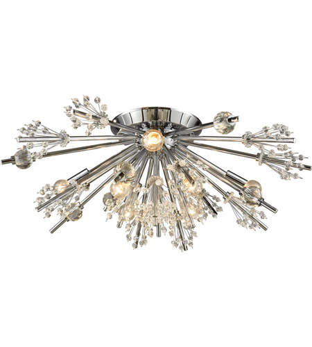 Elk 11748 8 starburst 8 light 26 inch polished chrome semi flush mount ceiling light