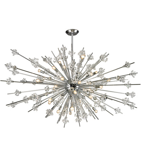 Elk 11754 31 Starburst Light 72 Inch Polished Chrome Chandelier Ceiling
