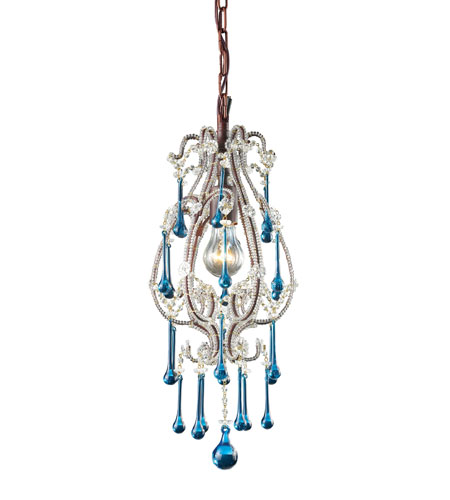 ELK Lighting Opulence 1 Light Pendant in Rust 12013/1AQ photo