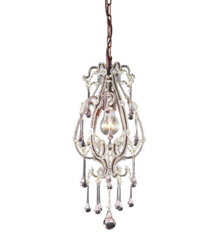 ELK 12013/1RS Opulence 1 Light 8 inch Rust Pendant Ceiling Light in Rose Crystal photo