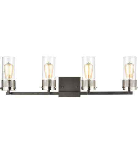 ELK 12143/4 Bergenline 4 Light 32 inch Matte Black with Polished Nickel Vanity Light Wall Light photo thumbnail