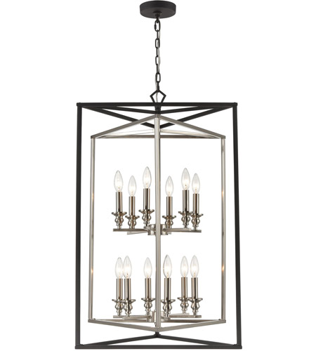ELK 12237/6+6 Salinger 12 Light 24 inch Charcoal with Satin Nickel Pendant Ceiling Light photo thumbnail