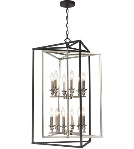 ELK 12237/6+6 Salinger 12 Light 24 inch Charcoal with Satin Nickel Pendant Ceiling Light alternative photo thumbnail
