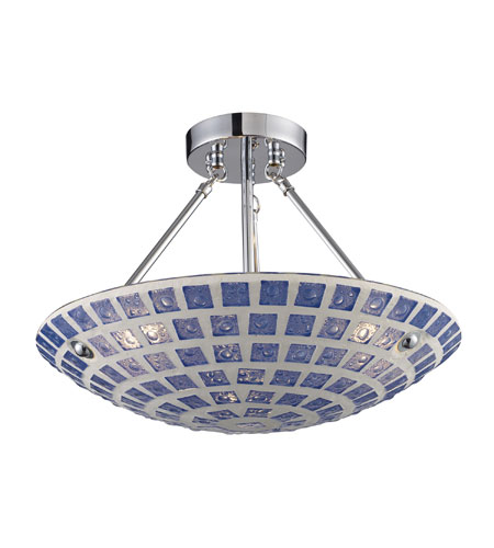 ELK Lighting Fused Glass Mosaic 3 Light Semi-Flush Mount in Polished Chrome 1322/3BLM photo