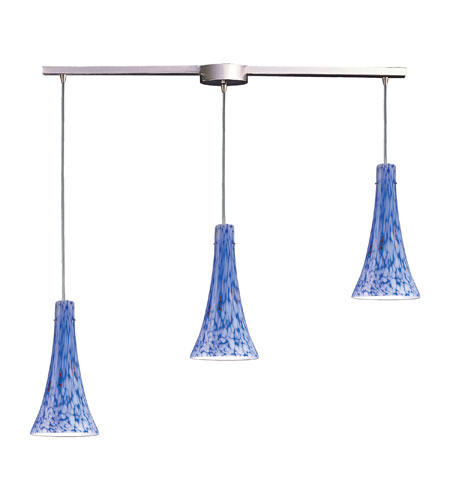 ELK 140-3L-BL Tromba 3 Light 10 inch Satin Nickel Pendant Ceiling Light in Incandescent, Starburst Blue Glass, Linear with Recessed Adapter photo
